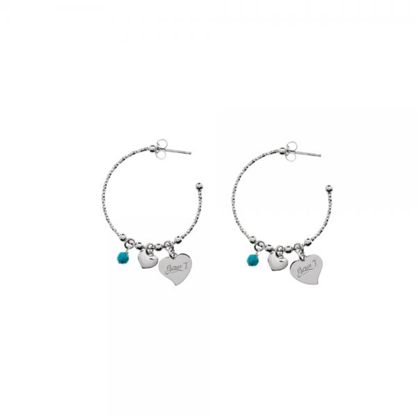 ESO1048AT Orecchini Perle e Cuori Anelle Pietra Turchese